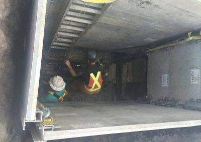 underground work with safety walls in place